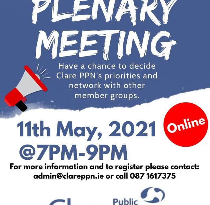 Notice of Plenary Meeting: Tuesday, 11th May 2021, 7pm (online)