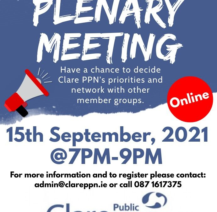 Notice of Plenary Meeting: Wednesday, 15th September 2021, 7pm (online)